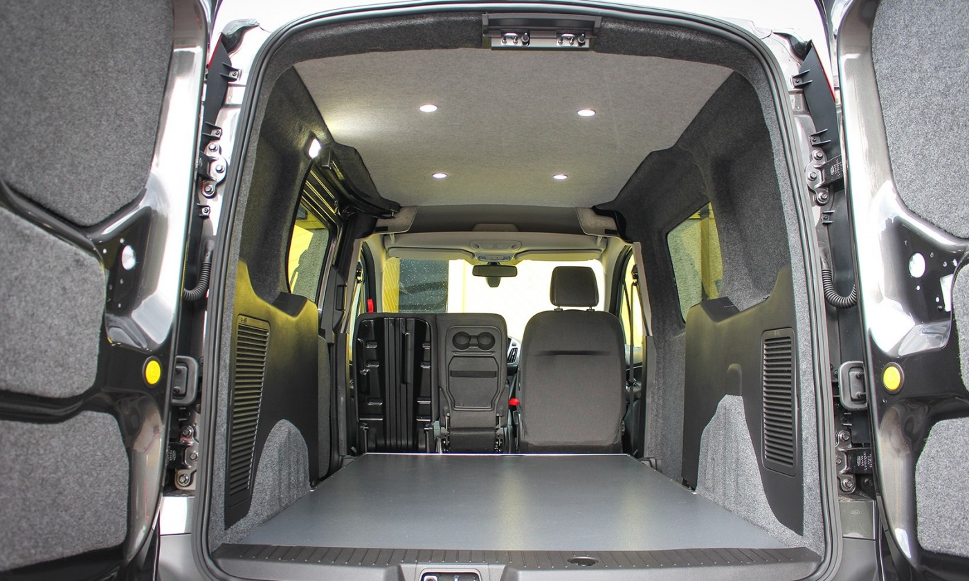 Ford Transit Connect Campervan Conversion fitted with Led remote lights and insulated & carpeted
