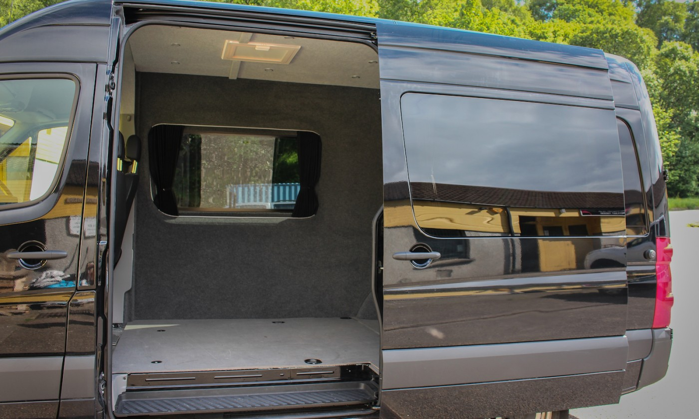 VW Crafter Campervan Conversion Insulated, Carpet lined fitted with two roof vents and led remote lights