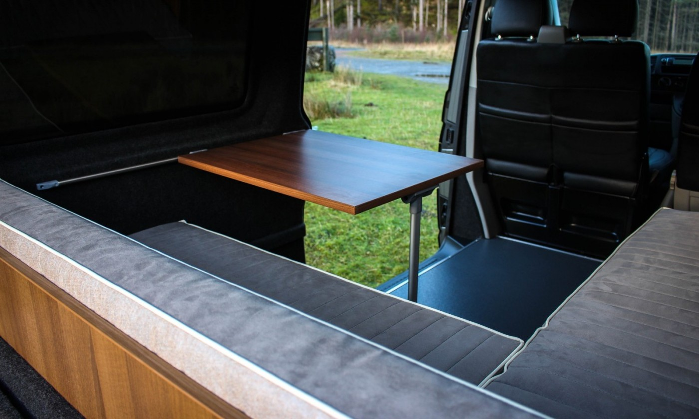 Campervan sliding table for dining