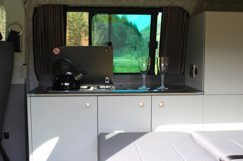 The Grey Campervan Furniture complements the exiting trim in the front cab