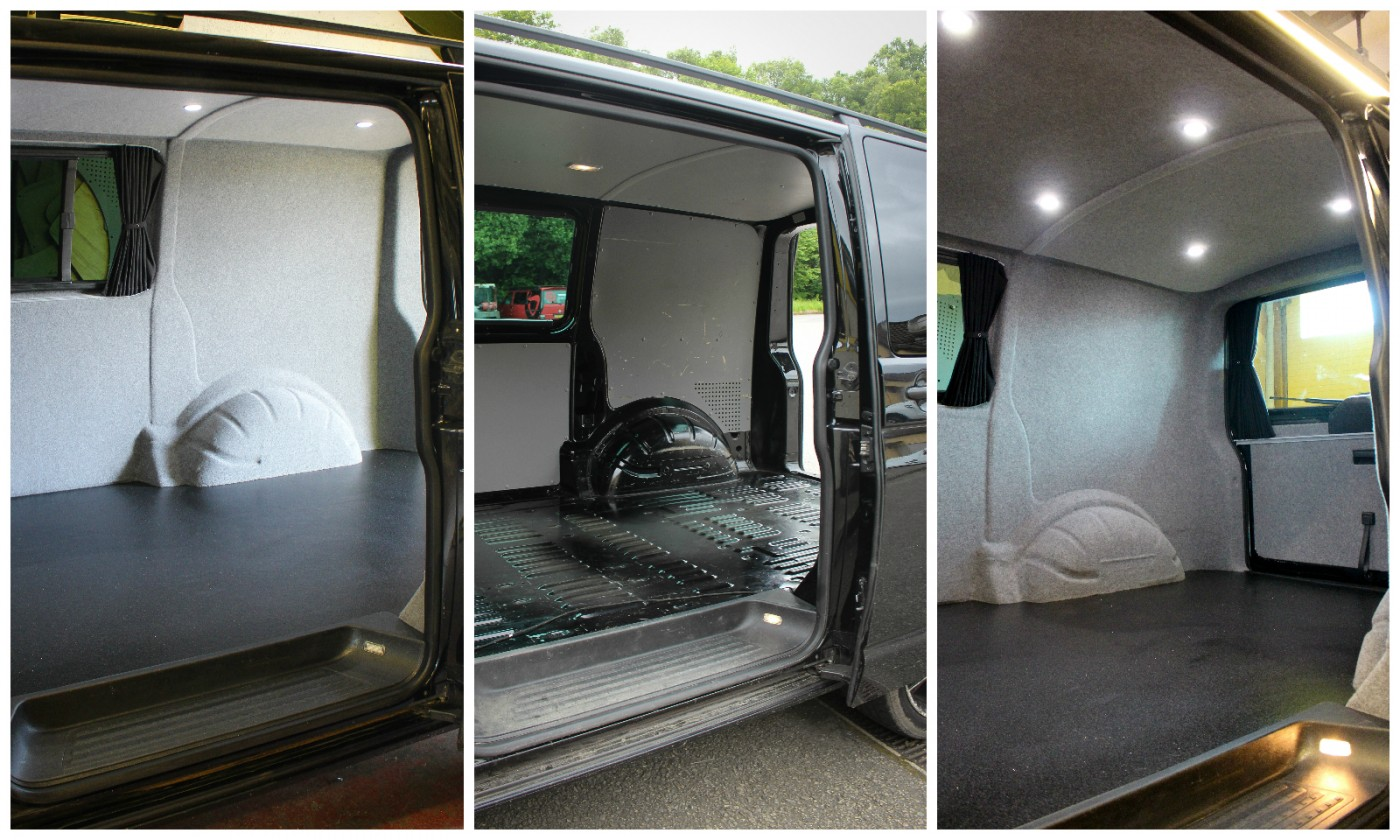 VW T5 Insulated, carpet lined and led remote lighting fitted with Altro anti-slip flooring
