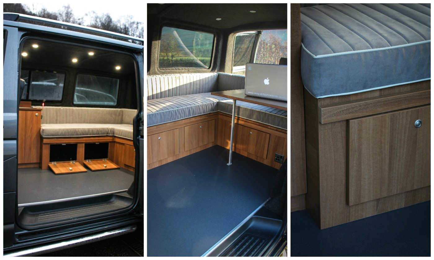 VW T5 Insulated, privacy windows fitted and installed bespoke furniture with remote led lighting, usb charging points and 240 hook-up